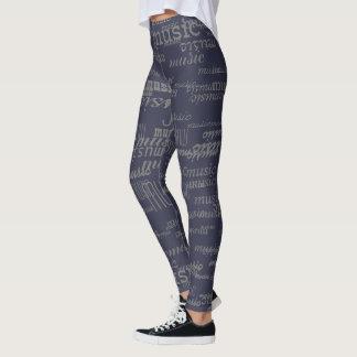 cool music pattern leggings