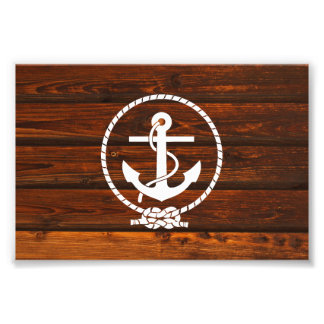 Cool Nautical Anchor rope antique wood grunge Photo Print