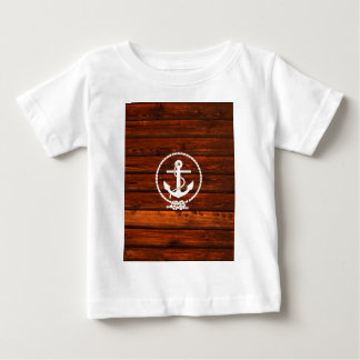 Cool Nautical Anchor & rope wood grunge effects Baby T-Shirt