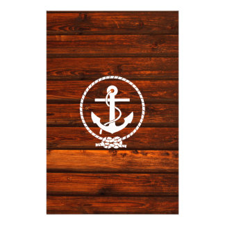 Cool Nautical Anchor & rope wood grunge effects Custom Stationery