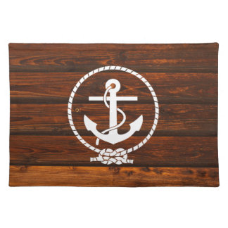Cool Nautical Anchor & rope wood grunge effects Placemat