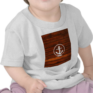 Cool Nautical Anchor & rope wood grunge effects T Shirt