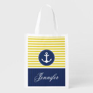 Cool Nautical Yellow Navy Anchor Customized Name Reusable Grocery Bag