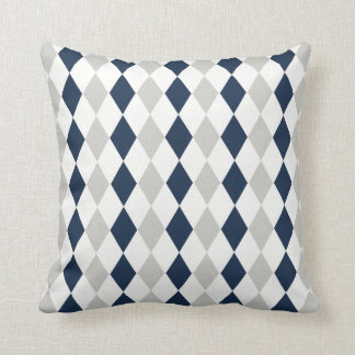 Cool Navy Blue and Gray Argyle Diamond Pattern Cushion