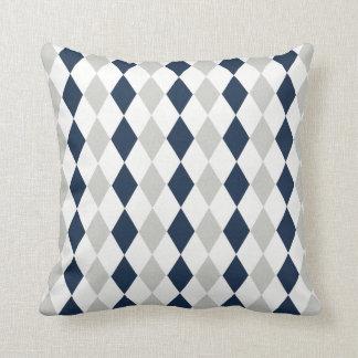 Cool Navy Blue and Gray Argyle Diamond Pattern Throw Pillow