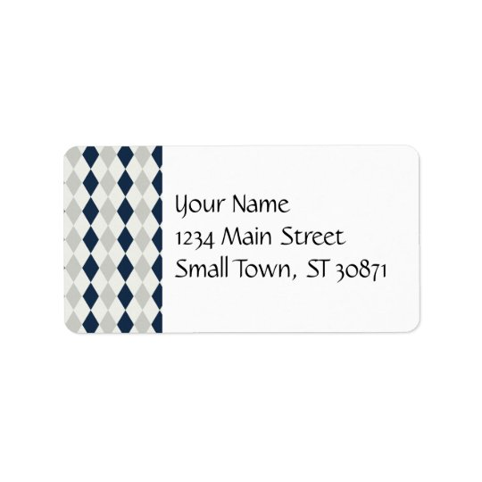 Cool Navy Blue and Grey Argyle Diamond Pattern Address Label