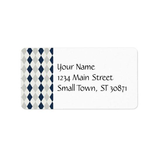 Cool Navy Blue and Grey Argyle Diamond Pattern Label