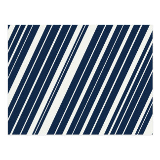 Cool Navy Blue and White Diagonal Stripes Pattern Postcard