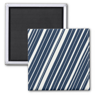 Cool Navy Blue and White Diagonal Stripes Pattern Square Magnet