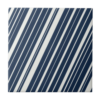 Cool Navy Blue and White Diagonal Stripes Pattern Tile