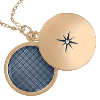 Cool Navy Blue and White Plaid Pattern Gifts Custom Jewelry