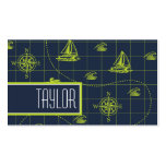 Cool, Navy Blue, Lime Green Nautical Map Pack Of Standard Business Cards