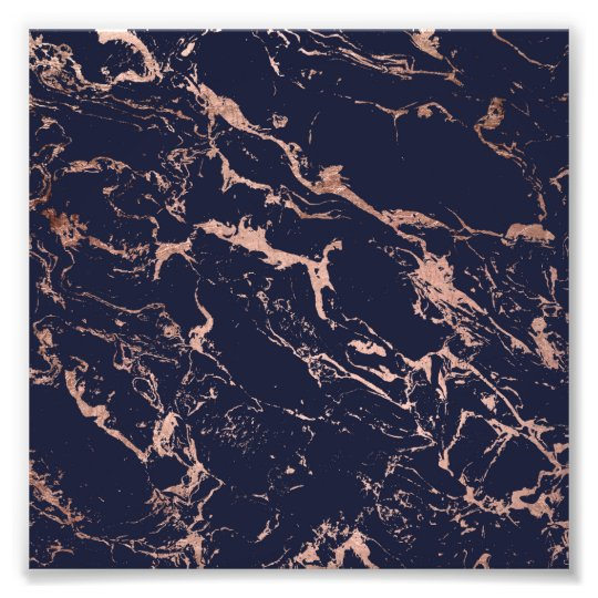 Cool navy blue rose gold marble pattern photo