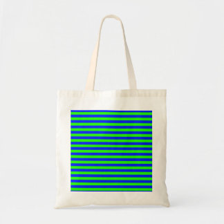 Cool Neon Green And Blue Stripes Tote Bag