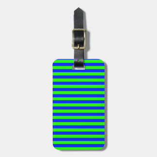 Cool Neon Green And Blue Stripes Luggage Tag