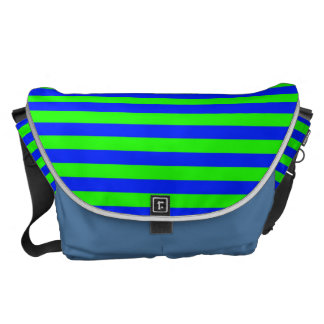 Cool Neon Green And Blue Stripes Messenger Bags