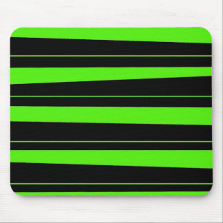 Cool Neon Lime Green and Black Striped Pattern Mouse Pad