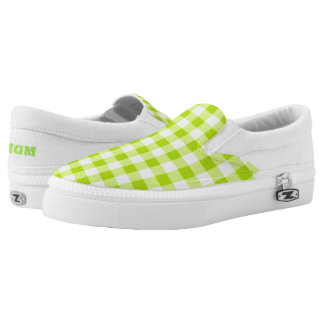 Cool Neon Lime Green Gingham Monogram Printed Shoes