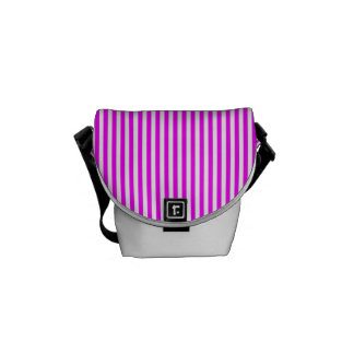 Cool Neon Pink and White Stripes Courier Bags