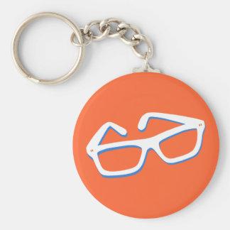 Cool Nerd Glasses in Black White Key Chain