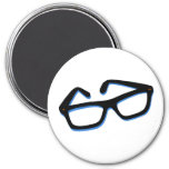 Cool Nerd Glasses in Black & White 7.5 Cm Round Magnet