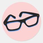 Cool Nerd Glasses in Black & White Round Sticker