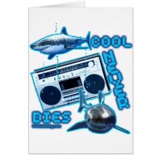 COOL NEVER DIES Great White Shark Ghetto blaster Greeting Card