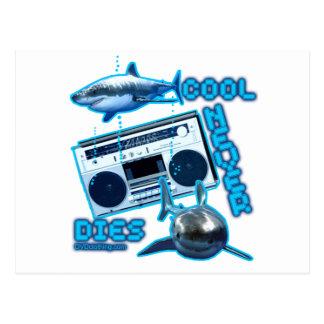 COOL NEVER DIES Great White Shark Ghetto blaster Postcard