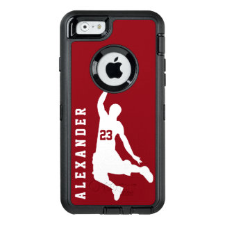Cool New Custom Sports Red Basketball Player Name OtterBox Defender iPhone Case