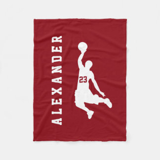 Cool New Sports Red Basketball Player Name Fleece Blanket
