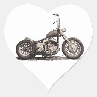 Cool Old Motorbike Heart Sticker