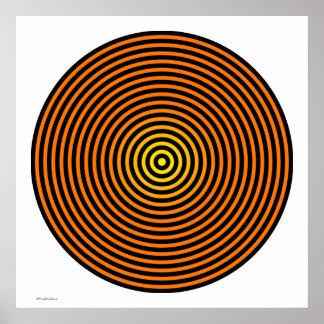 Cool Orange and Black Circles Poster