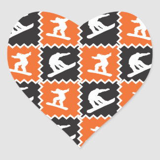 Cool Orange and Black Snowboarding Pattern Heart Sticker
