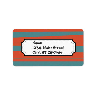 Cool Orange and Blue Uneven Stripes Pattern Address Label