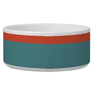Cool Orange and Blue Uneven Stripes Pattern Pet Bowl