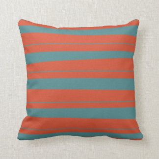 Cool Orange and Blue Uneven Stripes Pattern Throw Pillow
