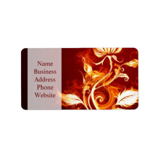 Cool Orange and Yellow Fire Flower Fire Rose Address Label