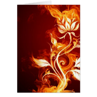 Cool Orange and Yellow Fire Flower Fire Rose Greeting Card