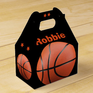 Cool Orange Basketball and Monogram Favor Box Favour Boxes