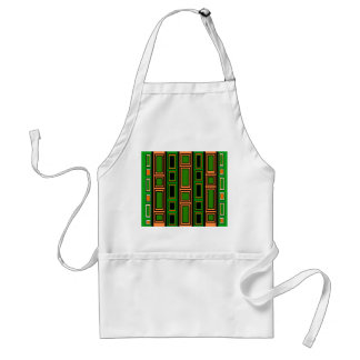 Cool orange black and green rectangle pattern standard apron