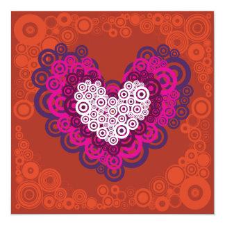 Cool Orange Purple Heart Concentric Circle Pattern 13 Cm X 13 Cm Square Invitation Card