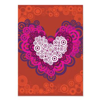 Cool Orange Purple Heart Concentric Circle Pattern 13 Cm X 18 Cm Invitation Card
