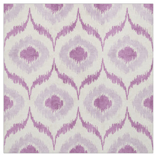 Cool orchid purple and white ikat tribal pattern fabric