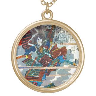 Cool orental japanese Legendary Samurai Bushi art Round Pendant Necklace
