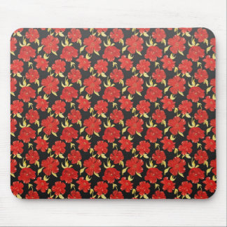 Cool oriental black red flower pattern mouse pad