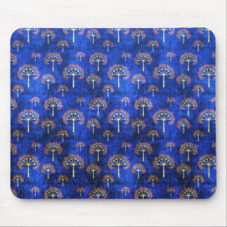 Cool oriental blue japanese abstract tree indigo mouse pad