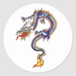 Cool  Oriental Blue Water Dragon style sticker