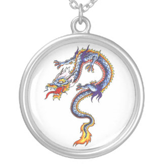 Cool Oriental Blue Water Dragon tattoo necklace