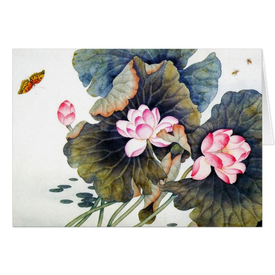 Cool oriental chinese beautiful lotus leaf butterf card
