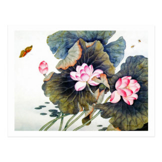 Cool oriental chinese beautiful lotus leaf butterf postcard
